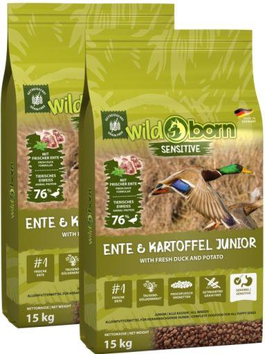 Wildborn Ente & Kartoffel JUNIOR Doppelpack 2 x 15kg - für Welpen & Junghunde