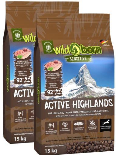 Wildborn Active Highlands Doppelpack 2 x 15kg für aktive Hunde