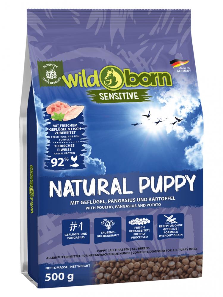 Hundefutter getreidefrei mit Geflügel + Pangasius 500g Trockenfutter WILDBORN Natural Puppy