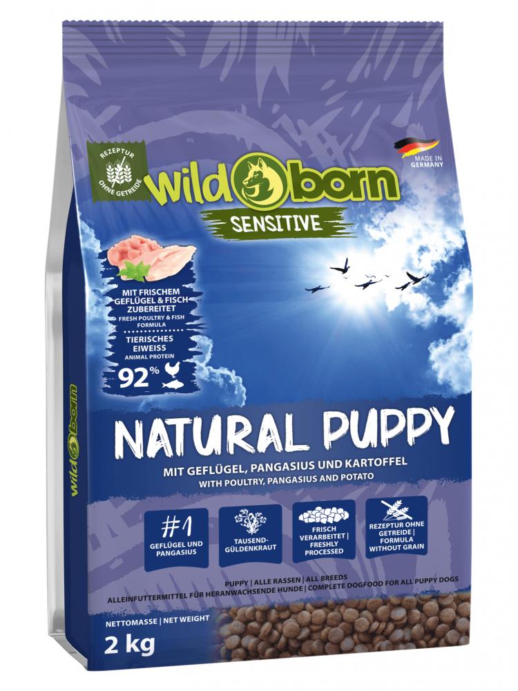 Hundefutter getreidefrei mit Geflügel + Pangasius 2kg Trockenfutter WILDBORN Natural Puppy