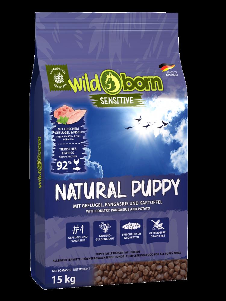 Hundefutter getreidefrei mit Geflügel + Pangasius 15 kg Trockenfutter WILDBORN Natural Puppy