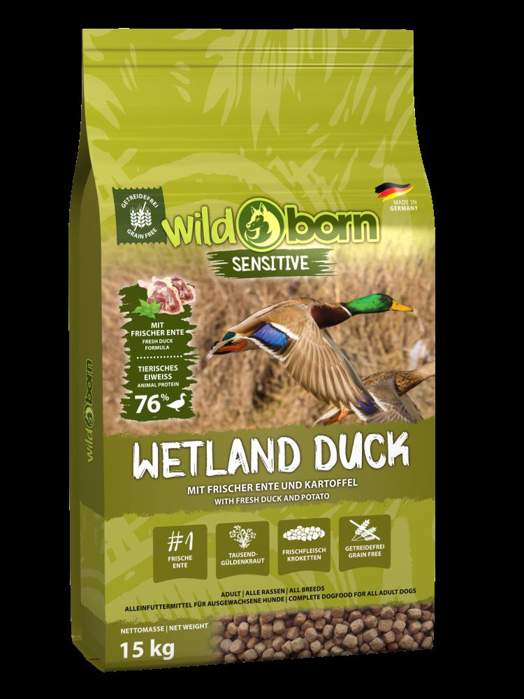 Hundefutter getreidefrei mit Ente 15kg Trockenfutter WILDBORN Wetland Duck