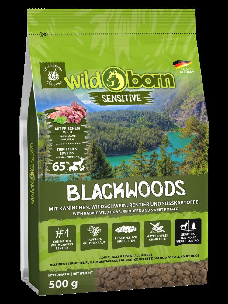 Hundefutter getreidefrei mit Wildschwein 500g Trockenfutter WILDBORN Blackwoods