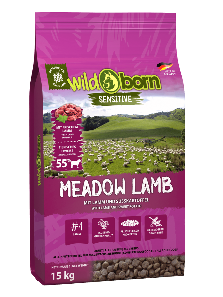 Hundefutter getreidefrei mit Lamm 15kg Trockenfutter WILDBORN Meadow Lamb