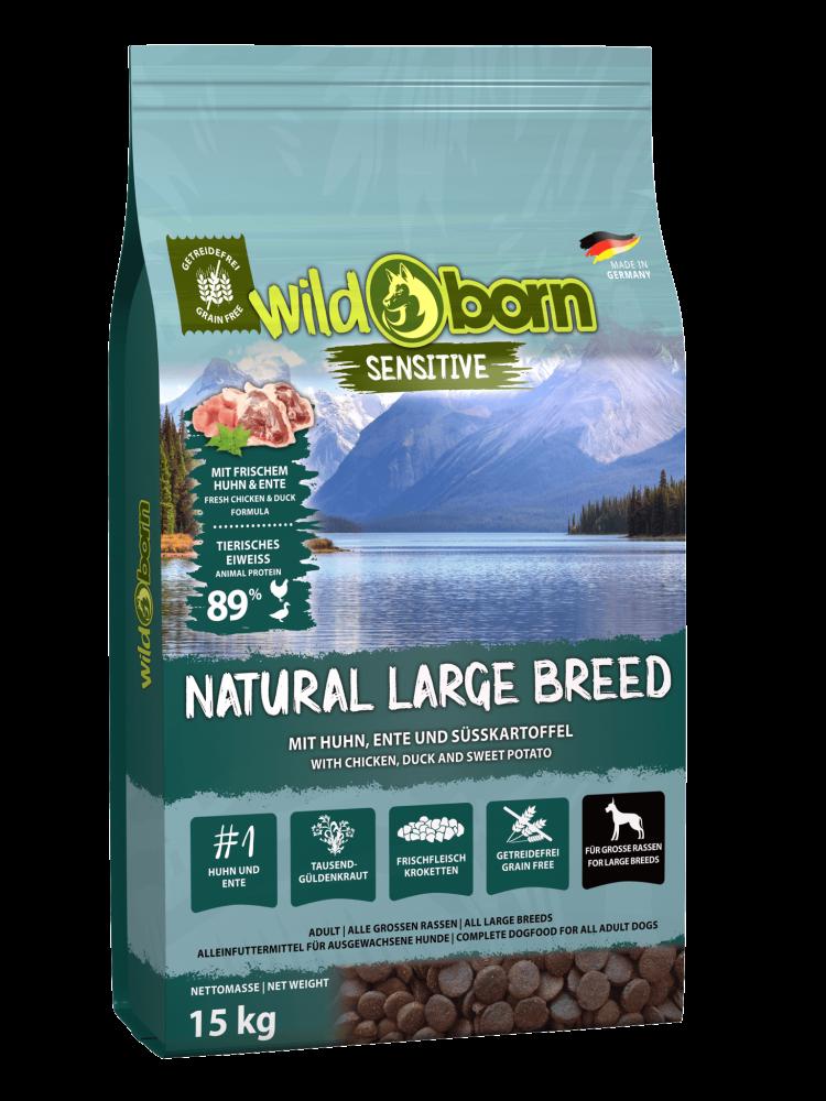 Hundefutter getreidefrei für grosse Rassen 15kg Trockenfutter WILDBORN Natural Large Breed