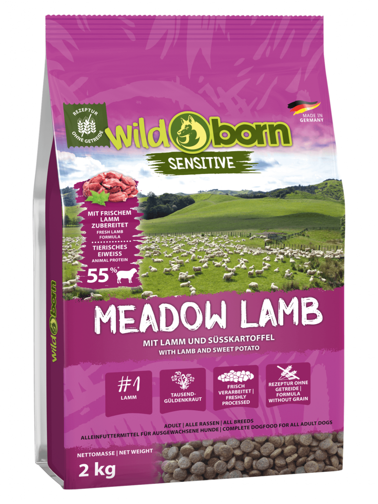 Hundefutter getreidefrei mit Lamm 2kg Trockenfutter WILDBORN Meadow Lamb