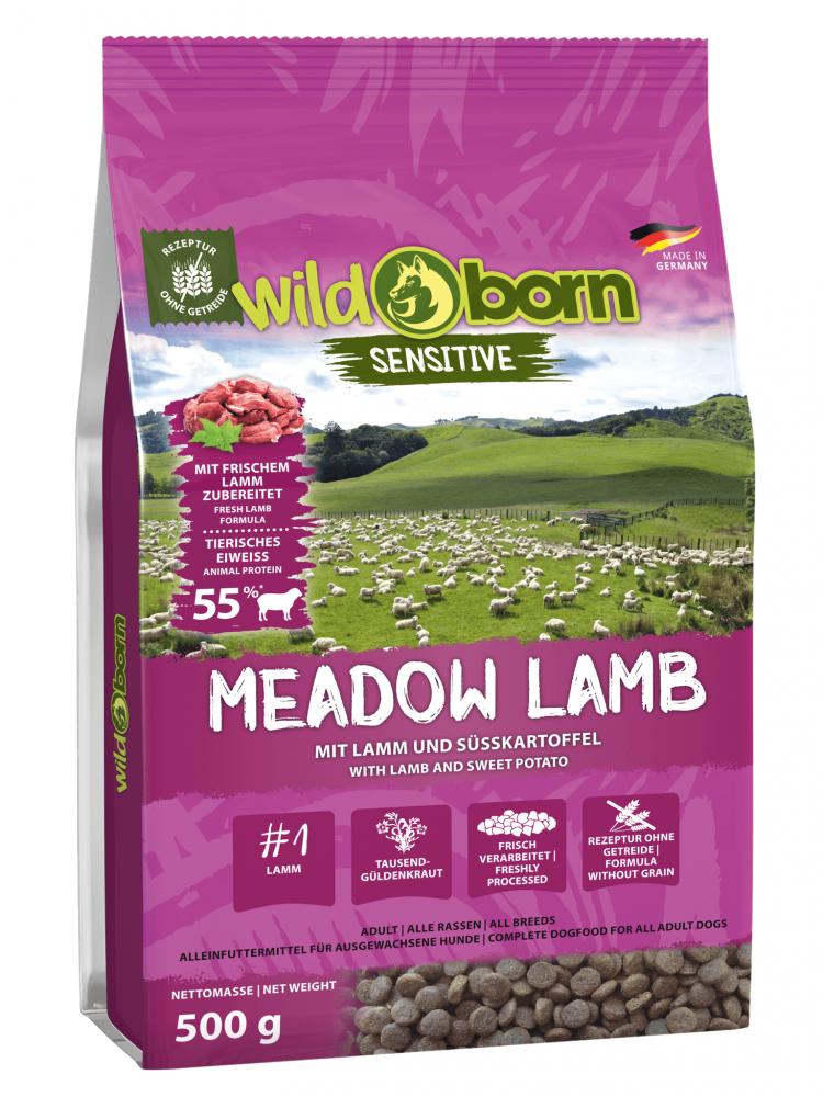 Hundefutter getreidefrei mit Lamm 500g Trockenfutter WILDBORN Meadow Lamb