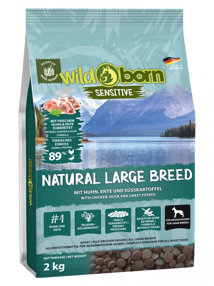 Hundefutter getreidefrei für grosse Rassen 2kg Trockenfutter WILDBORN Natural Large Breed