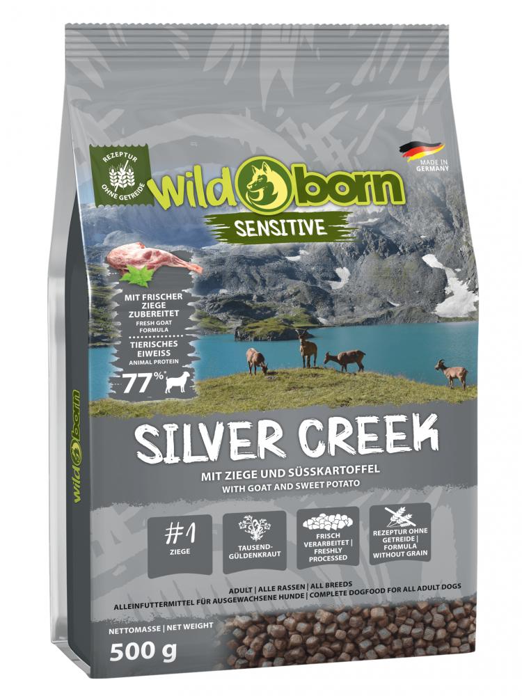 Hundefutter getreidefrei mit Ziege 500g Trockenfutter WILDBORN Silver Creek