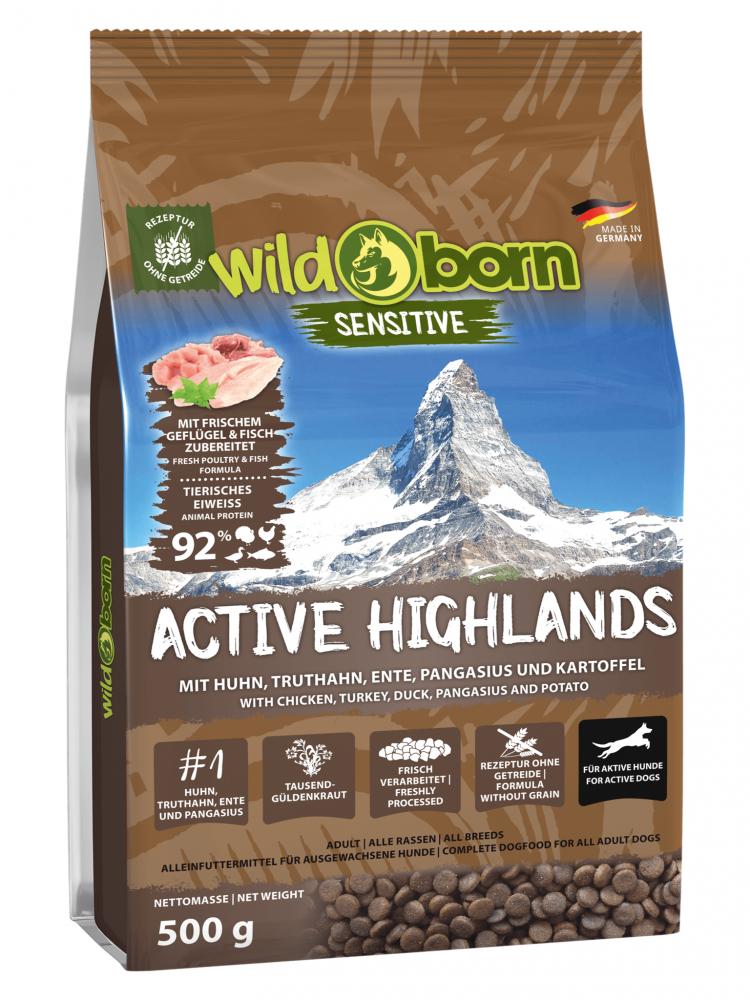 Wildborn Active Highlands 500g getreidefreies Hundefutter für aktive Hunde