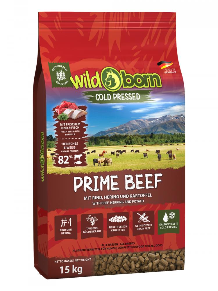 Hundefutter kaltgepresst mit Rind 15kg Trockenfutter WILDBORN Prime Beef