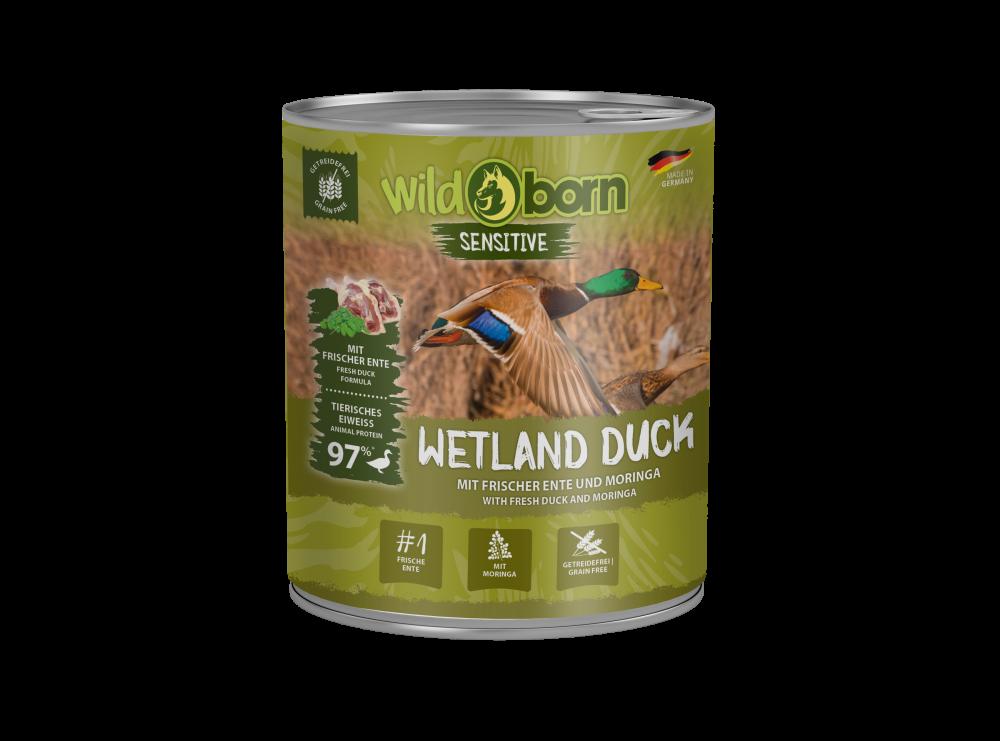 Wildborn Wetland Duck Nassfutter mit Ente 6x800g getreidefreies Hundefutter aus Deutschland für alle Hunde