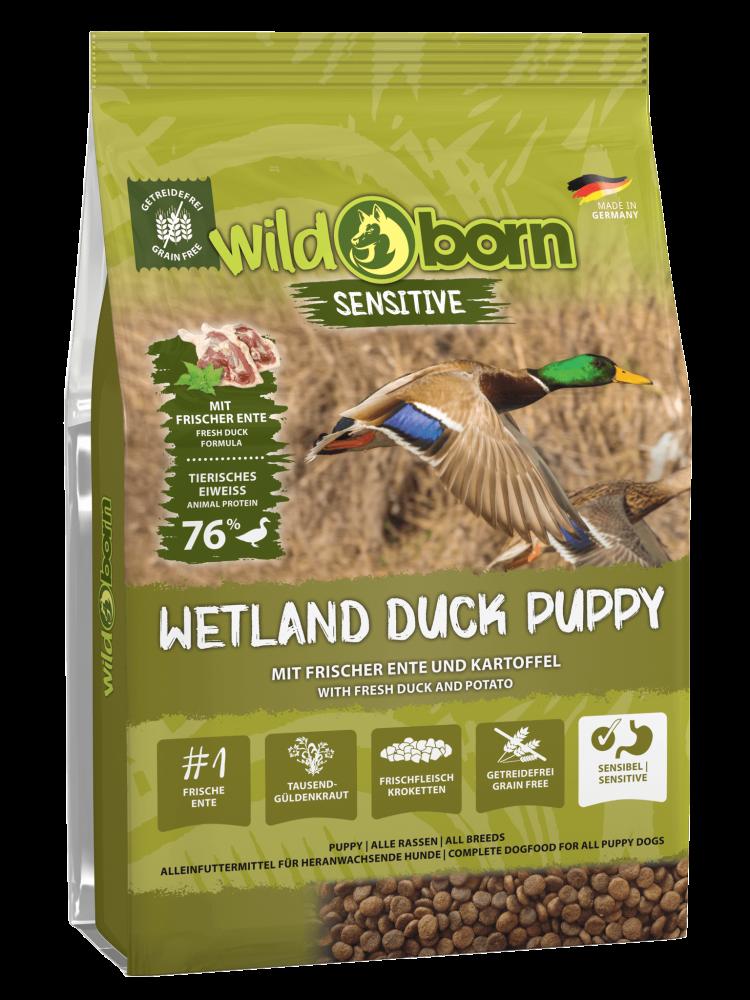Hundefutter getreidefrei mit Ente 8 kgTrockenfutter WILDBORN Wetland Duck Puppy Sensitiv