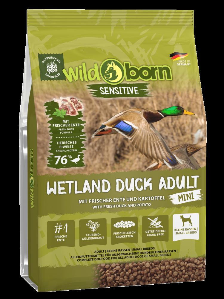 Hundefutter getreidefrei mit Ente 8kg Trockenfutter WILDBORN Wetland Duck Adult MINI