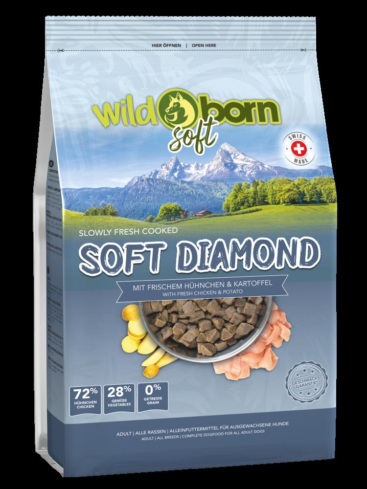 Hundefutter getreidefrei mit Alpenhühnchen 1,0 kg Trockenfutter WILDBORN Soft Diamand