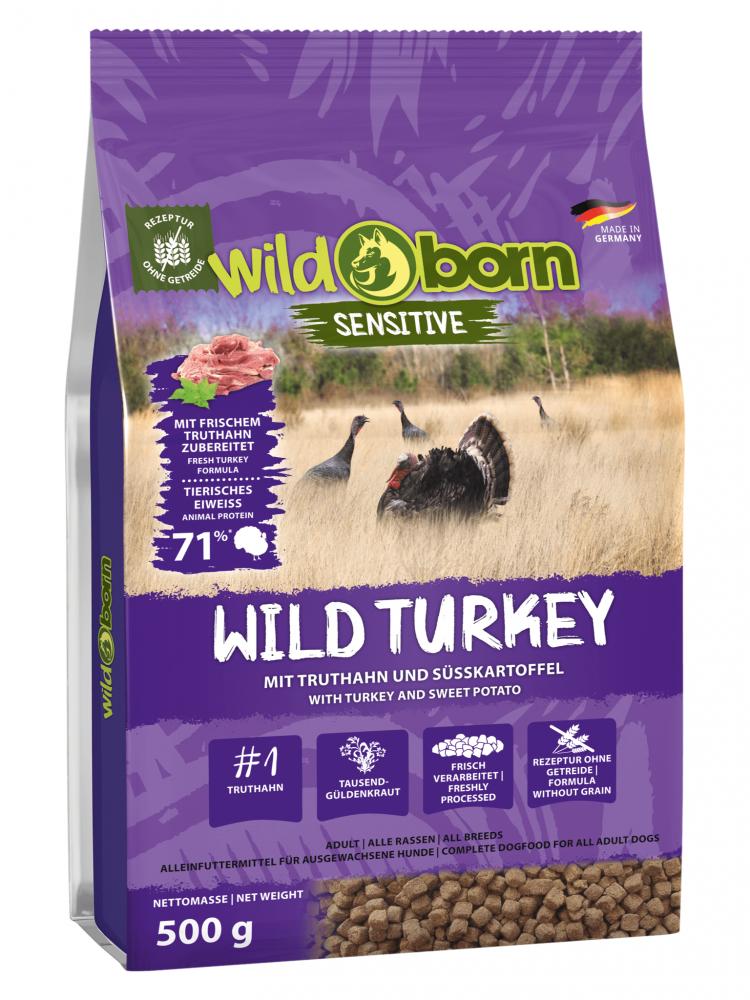 Hundefutter getreidefrei Truthahn 500g Trockenfutter WILDBORN Wild Turkey