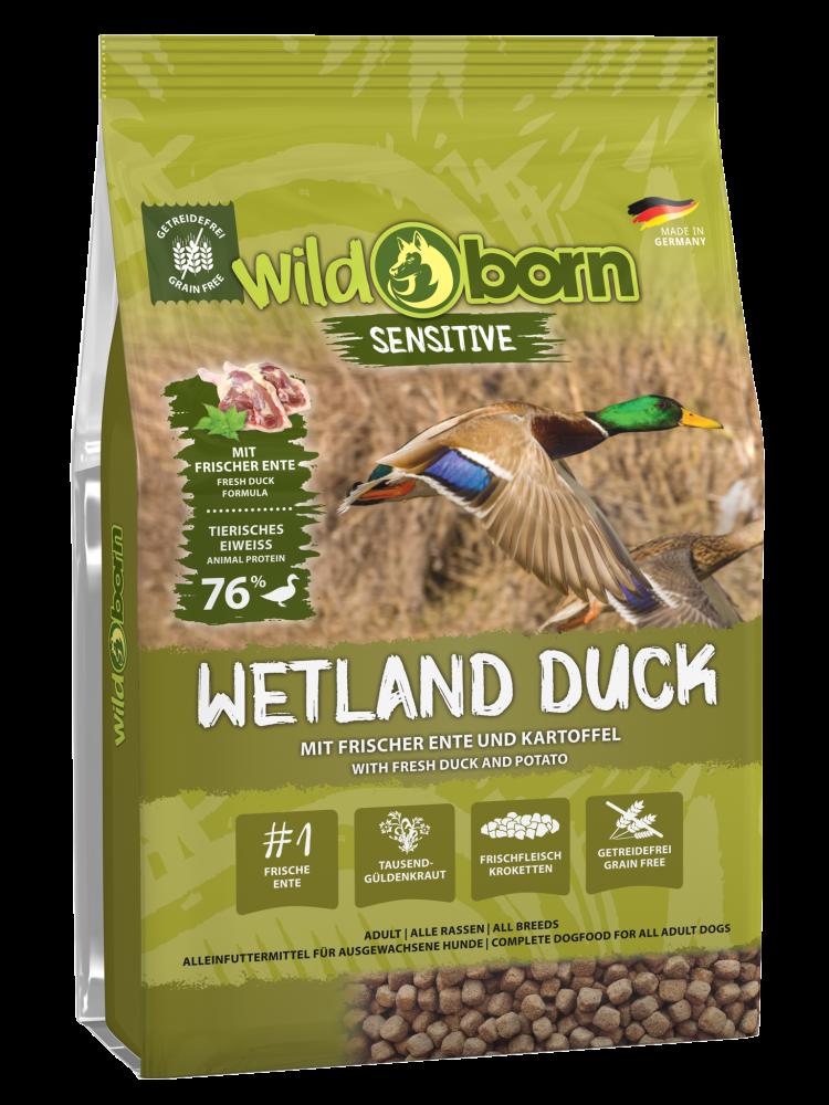 Hundefutter getreidefrei mit Ente 8kg Trockenfutter WILDBORN Wetland Duck