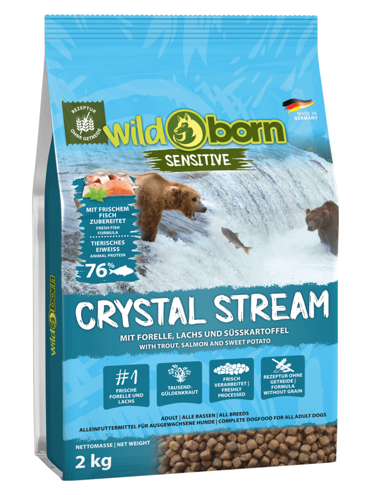 Hundefutter getreidefrei mit Forelle + Lachs 2kg Trockenfutter WILDBORN Chrystal Stream