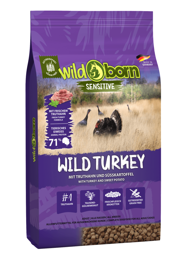 Hundefutter getreidefrei Truthahn 8kg Trockenfutter WILDBORN Wild Turkey