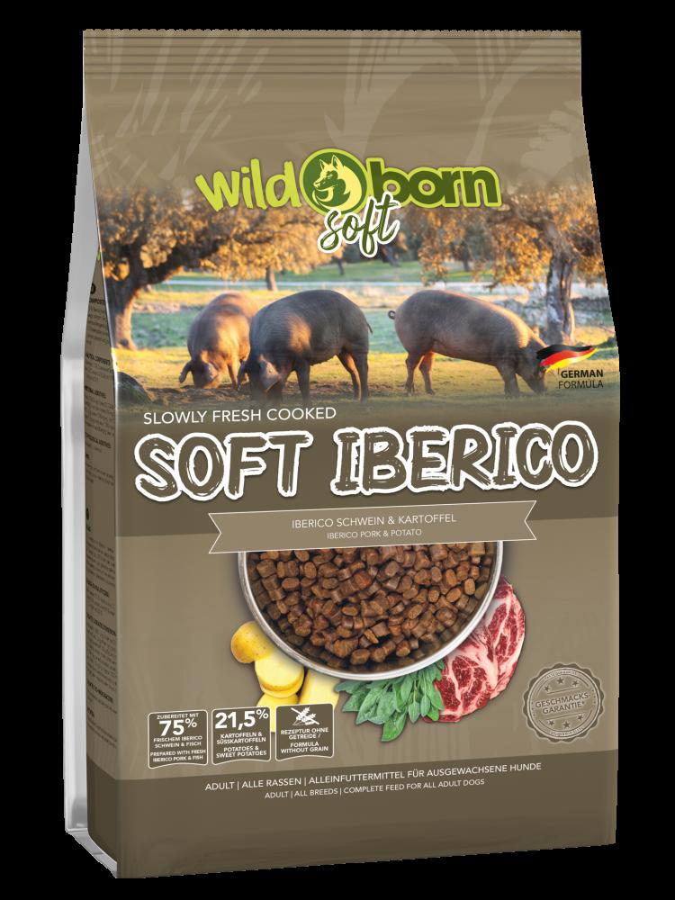 Hundefutter getreidefrei mit Iberico & Fisch 4kg Trockenfutter WILDBORN Soft Iberico