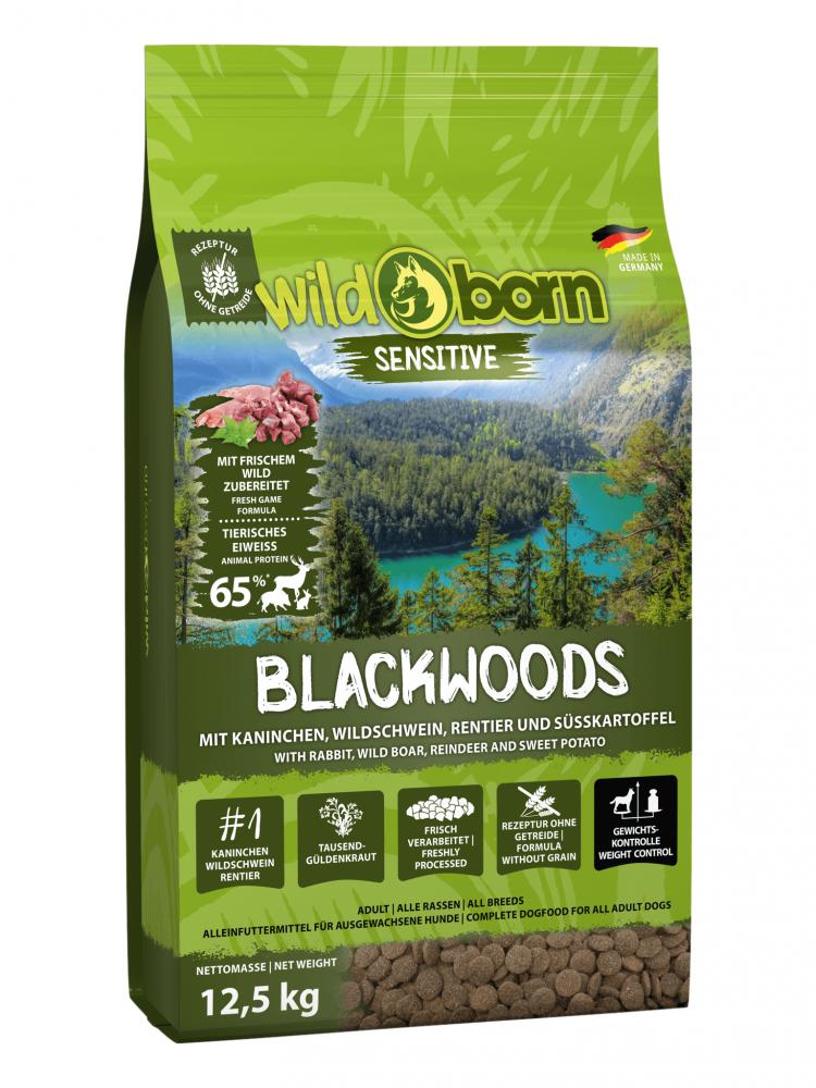 Hundefutter getreidefrei mit frischem Wild 12,5 kg Trockenfutter WILDBORN Blackwoods